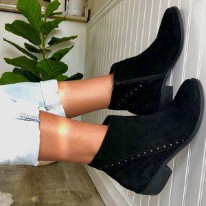 Vaneli Black Suede Ankle Boots Metal Stud
